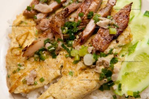 Pork, egg omellette and rice