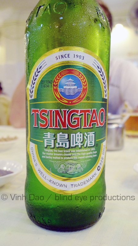 Tsing Tao beer at Fisherman Quay restaurant