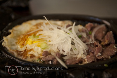 Fried beef with egg