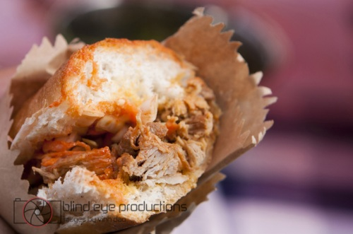 The pulled pork sandwich at the Kimchi Cult stand in Chatsworth E5 market