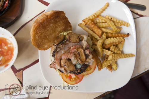 Bacon, Blue Cheese and Mushroom burger at Alley Cat Cafe