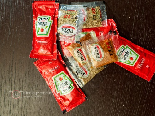 Packets of condiments from Pizza Company