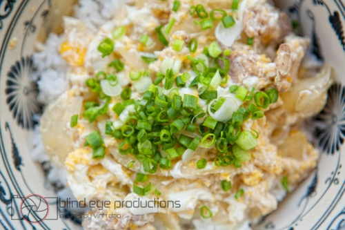 Chicken and eggs on steamed rice