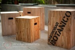 Stools in the garden at Botanico