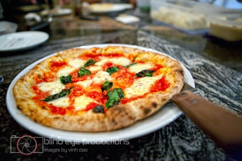 A finished margherita pizza