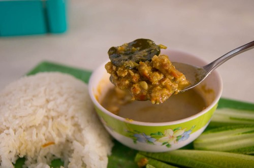 'Khmer paste' aka prahok with rice and veg $2