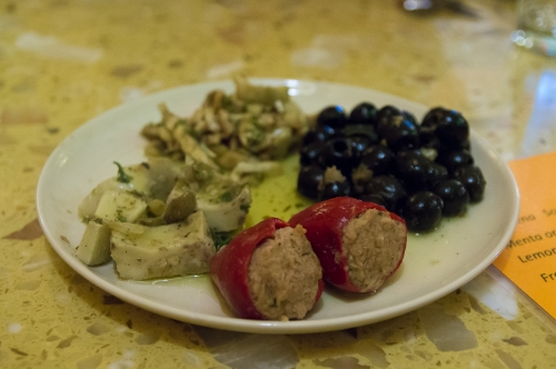 Selection of antipasti.