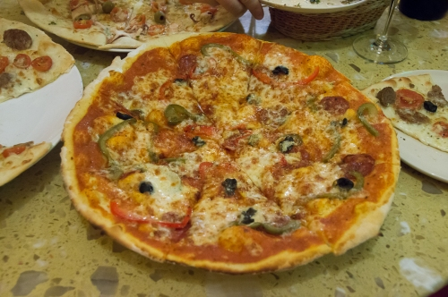 The spicy one, olives, peppers, pepperoni?, chili..